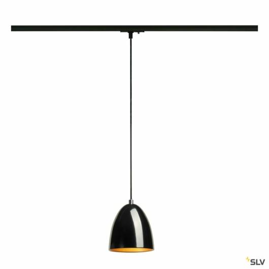 PARA CONE 14 függesztett lámpatest, kerek, fekete/arany, GU10, fekete 1-fázisú sínadapterrel