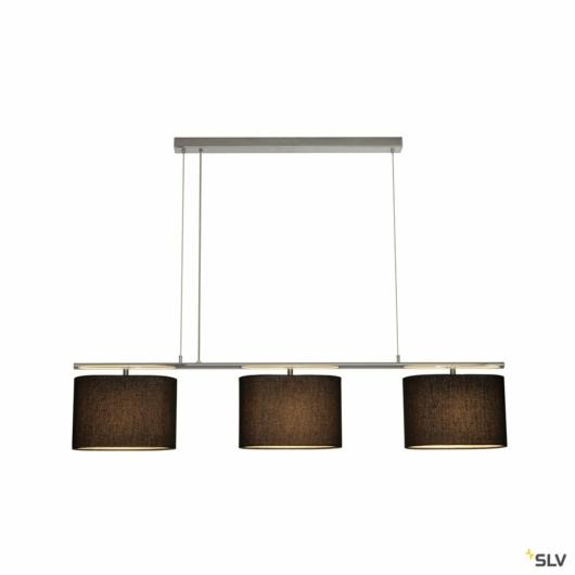 TRIADEM függesztett lámpatest, 3 textile búras, fekete, 3x E27, 3x 60W max.