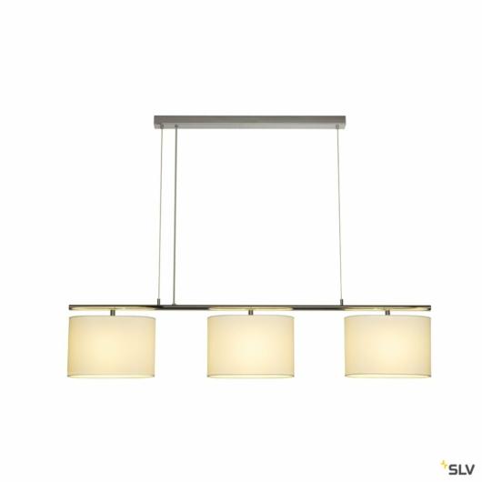 TRIADEM függesztett lámpatest, 3 textile búras, fehér, 3x E27, 3x 60W max.