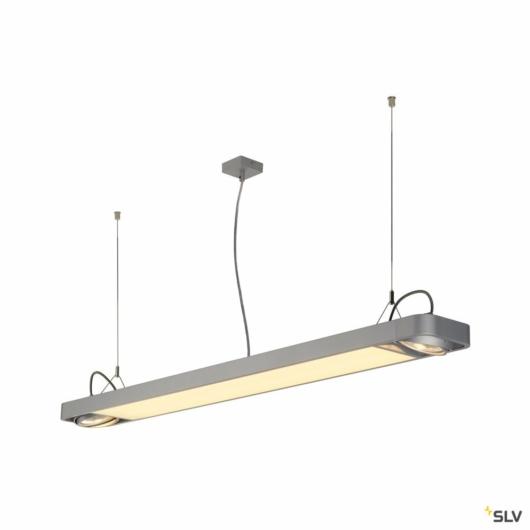 AIXLIGHT R2 OFFICE LED LONG, függesztett lámpatest, ezüstszürke, LED + 2xQPAR111, max. 75W, 153cm